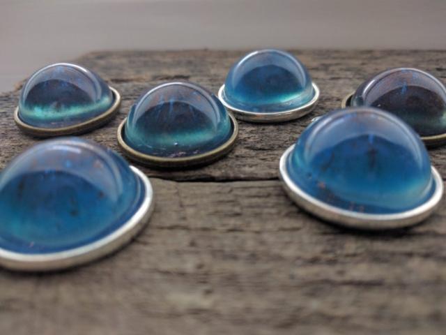 blue and copper epoxy galaxy pendants