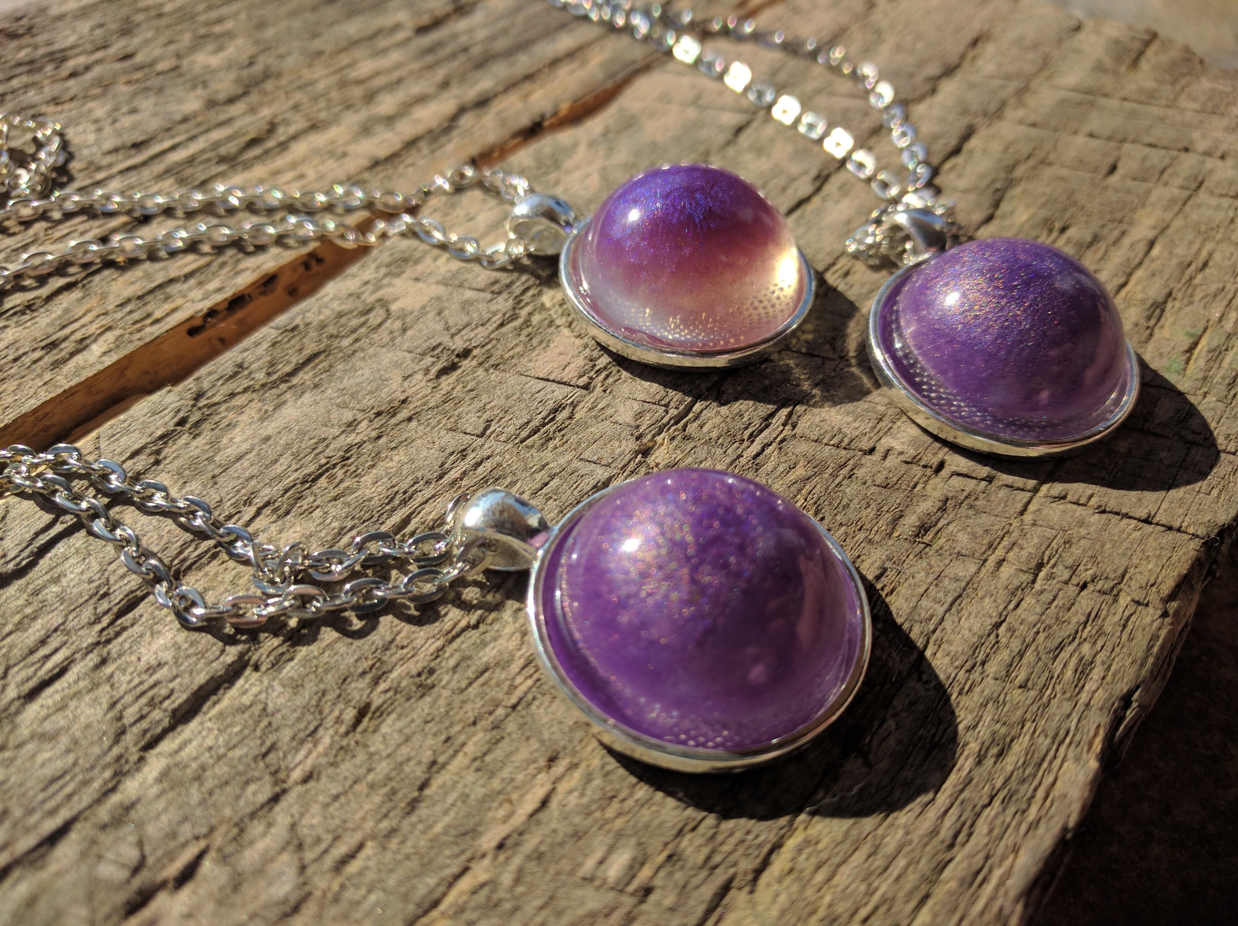 purple and sliver epoxy galaxy pendants